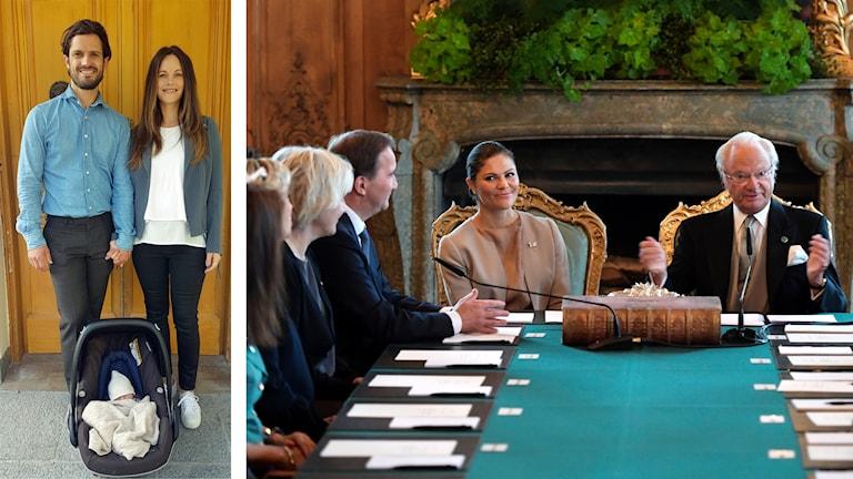 Carl Philip och Sofia står upp. På golvet ligger barnet i en bilbarnstol. På den högra bilden ser man statsminister Stefan Löfven, kronprinsessan Victoria och kung Carl Gustaf. På bordet framför dem ligger en stor tjock gammaldags bok.