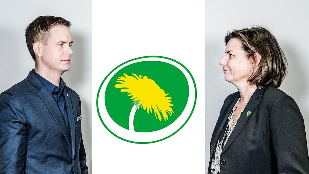 På fotot ser man språkrören och partiets symbol.