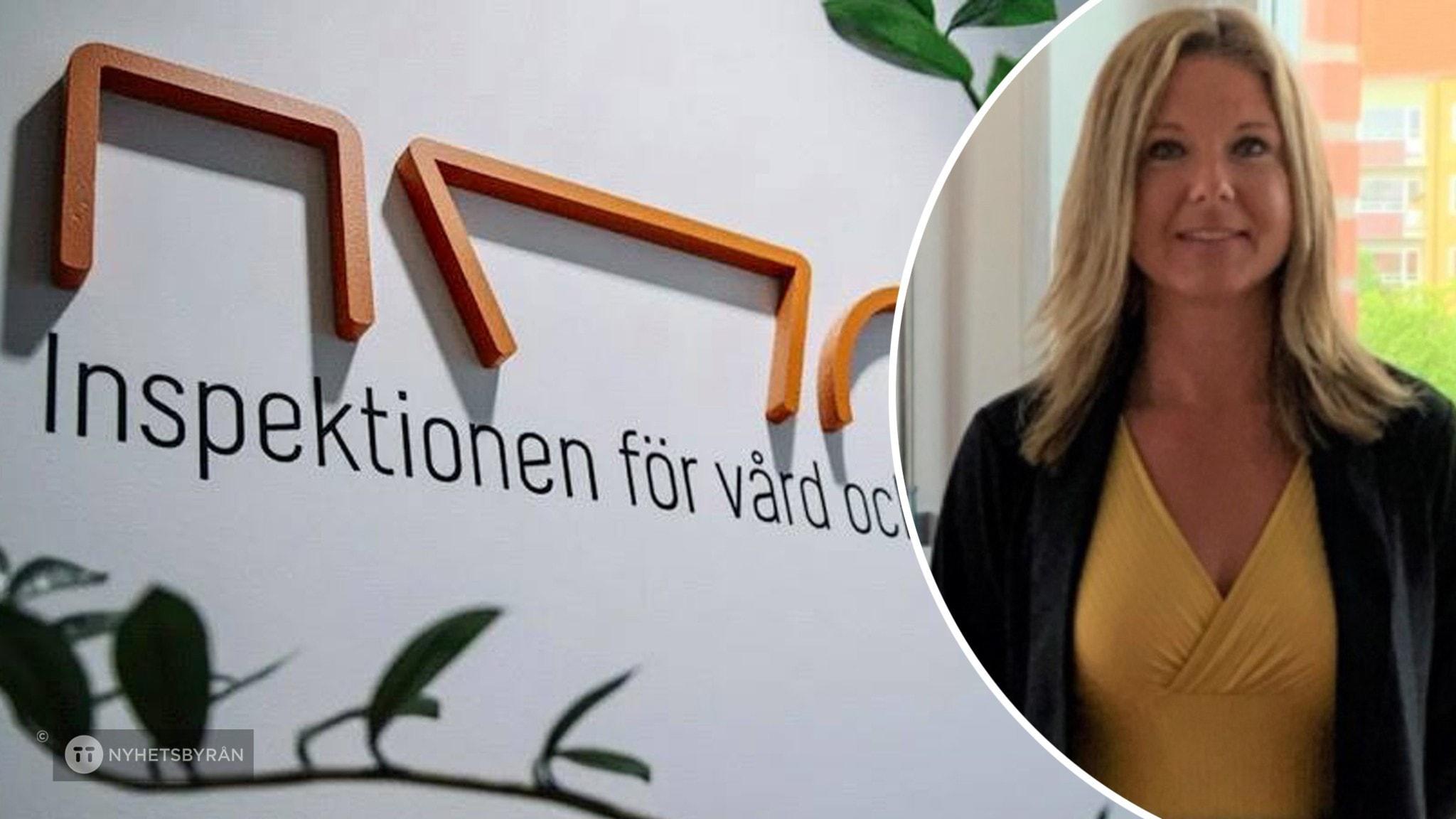 En skylt som det står IVO på. Och infälld bild på Lizette Ziegenfeldt som är enhetschef för LSS i Malmö.