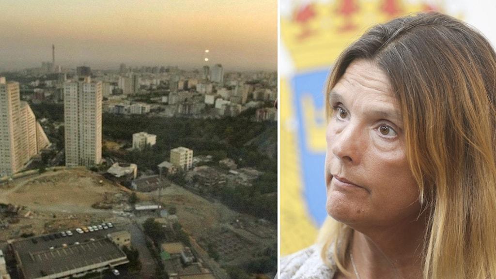 På bildens vänstra ser man en del av Irans huvudstad Teheran. På den högra sidan av bilden ser man en kvinna, åklagaren Kristina Lindhoff Carleson