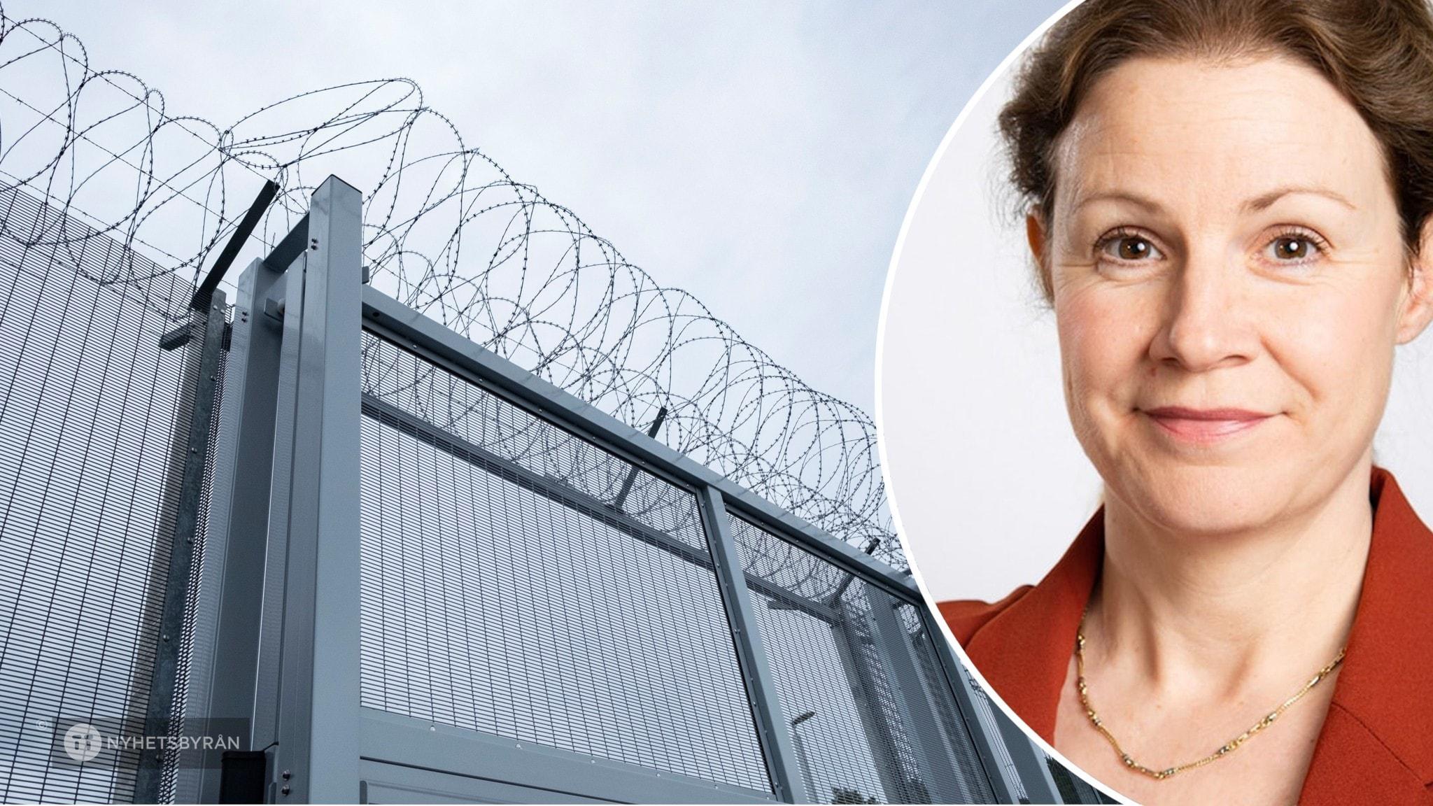 På det stora fotot syns en fängelsemur med taggtråd. Det andra är ett porträtt av Christina Heilborn.