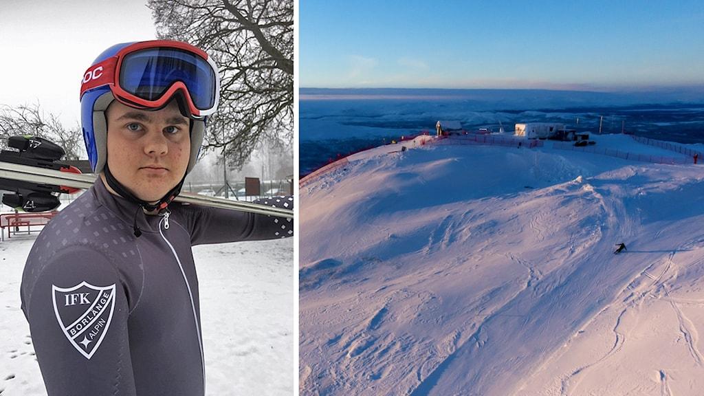En bild på en ung man i skidhjälm och skidglasögon som håller ett par skidor över axeln. Samt en bild på Åreskutan.