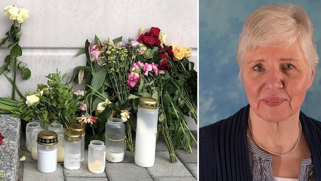 På bilderna ser man blommor och ljus på en trottoar, och en kvinna med kort grått hår.