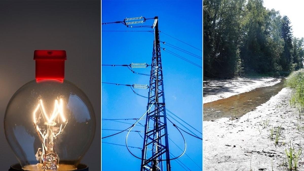 Bilden visar en glödlampa, elkraftverk och en sinad å.