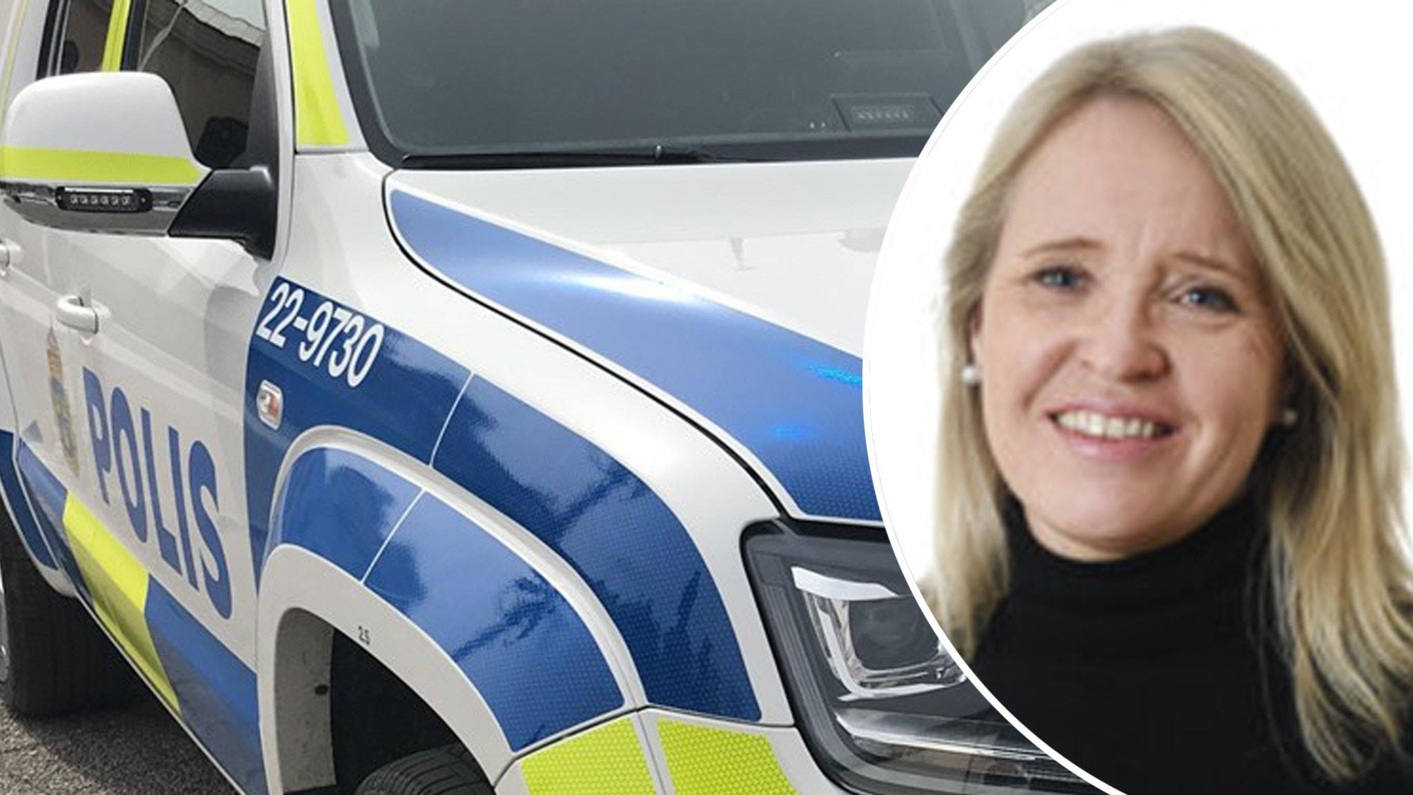 Till vänster: polisbil. Till höger: Anna Lindström. Hon har långt ljust hår och svarta kläder.