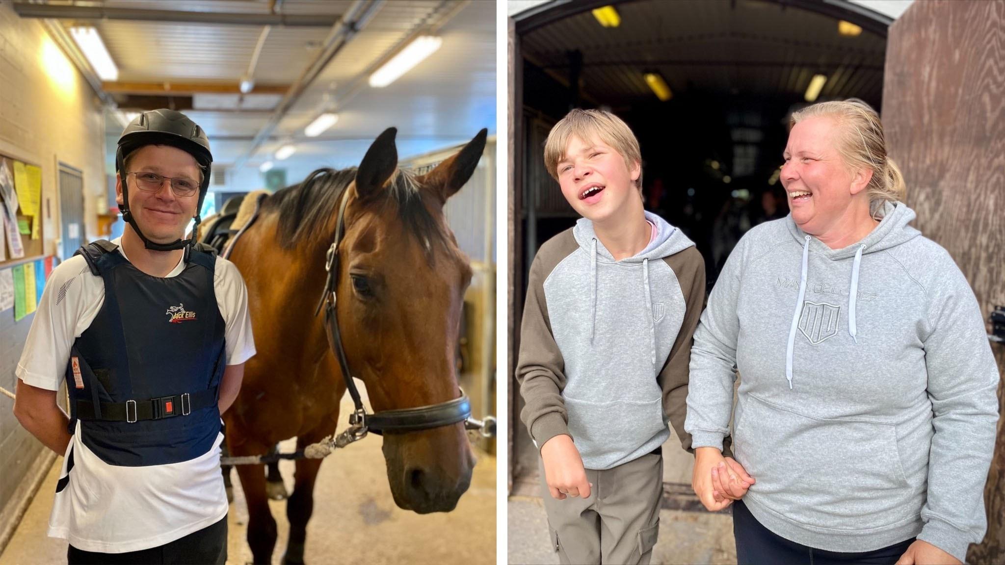 På bildens vänstra sida ser vi en ung man i ridhjälm med en häst intill sig. På bildens högra sida ser vi en pojke i grå huvtröja som håller sin mamma i handen.