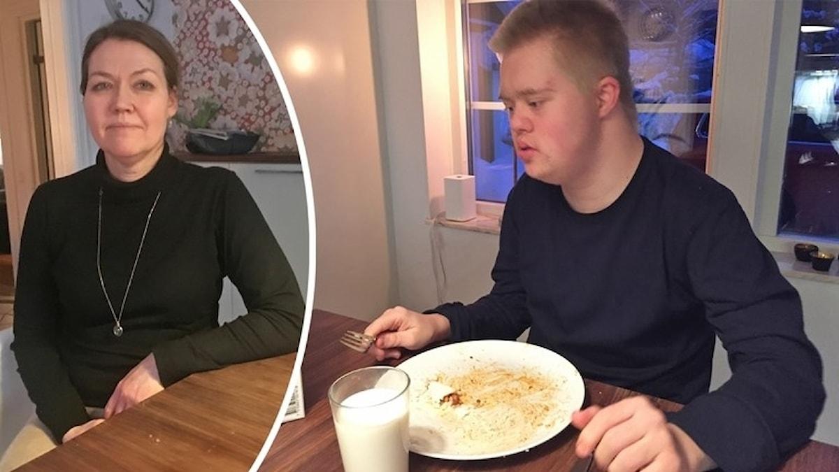 Fotot visar en kcinna i svart tröja  och hennes son som äter mat