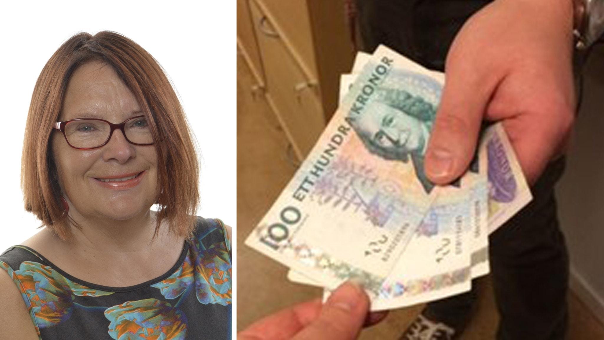 På det ena fotot syns en bild av Lotta. På det andra syns en hand som räcker fram pengar.