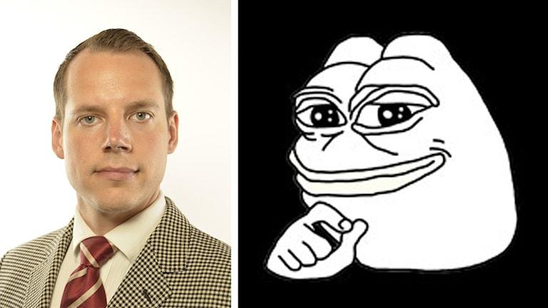 På fotot är Christoffer Dulny klädd i kavaj, skjorta och slips. Grodan är tecknad.