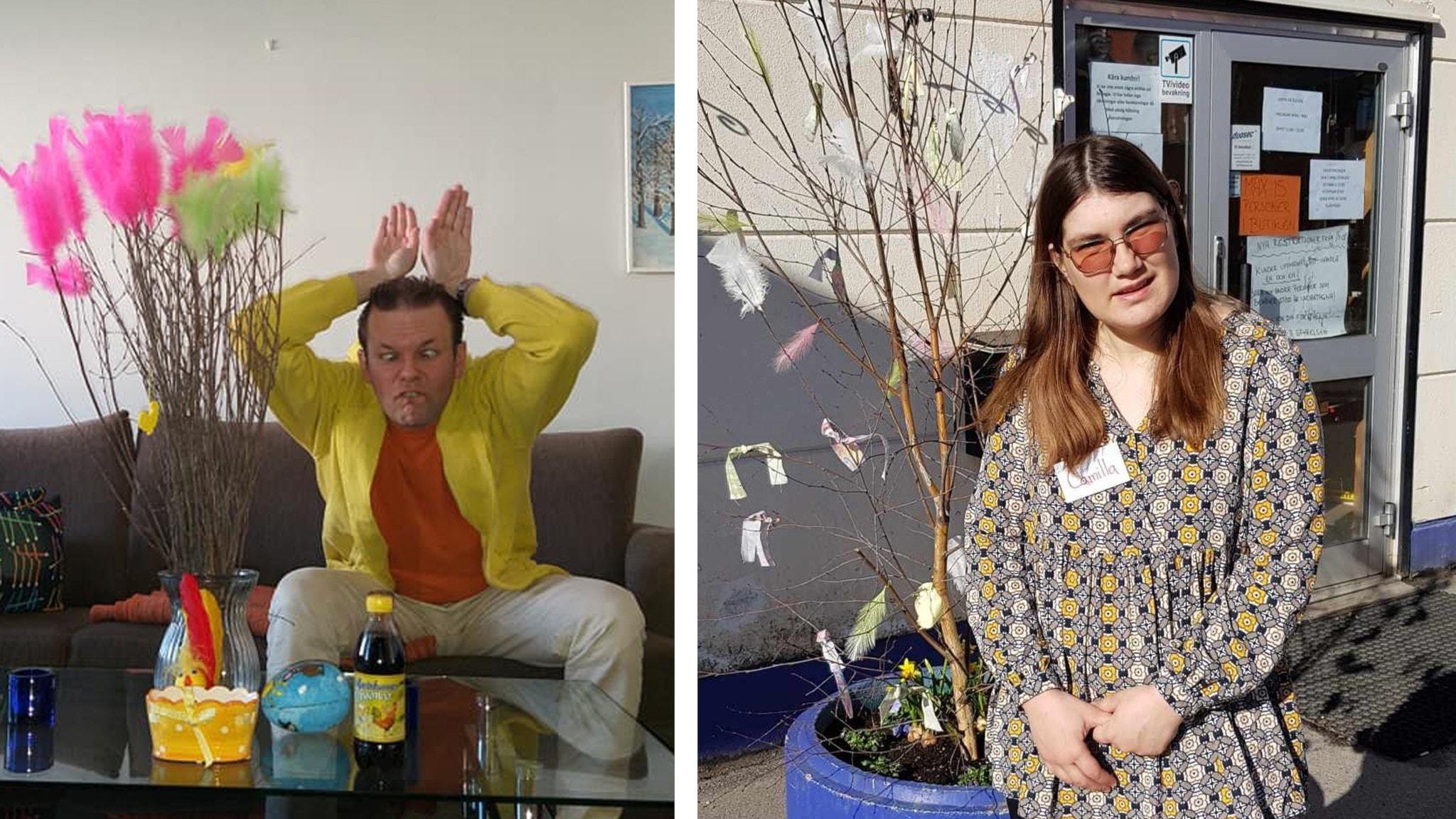 På den ena bilden skojar Tomas och låtsas vara en påskhare. På den andra bilden står Camilla vid ett påskris.