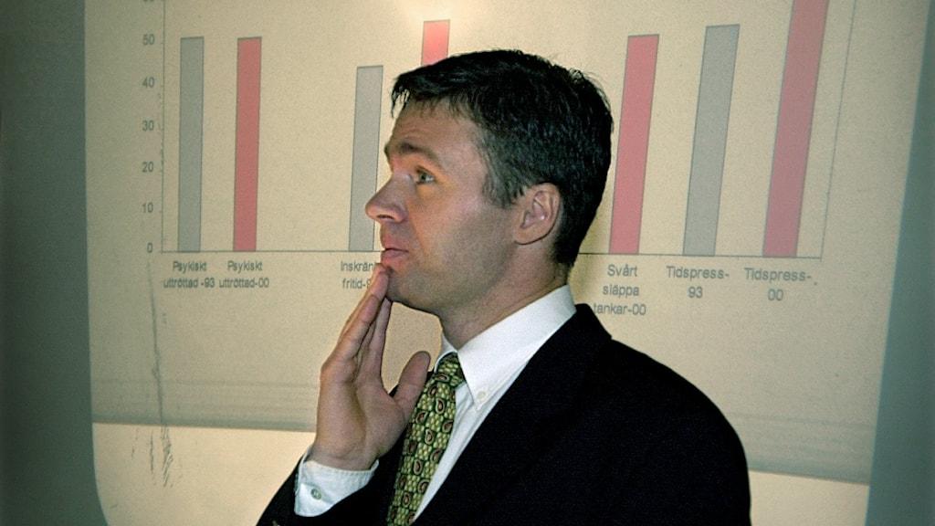 På bilden ser man en man i vit skjorta och mörk kostym framför en bild som visar en tabell.