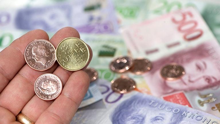 En hand med mynt och pengar.