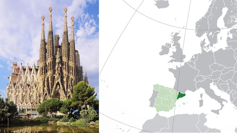 På kartan ser man att Katalonien ligger i norra Spanien, på gränsen till Frankrike. På fotot ser man en annorlunda kyrka med fyra höga torn.