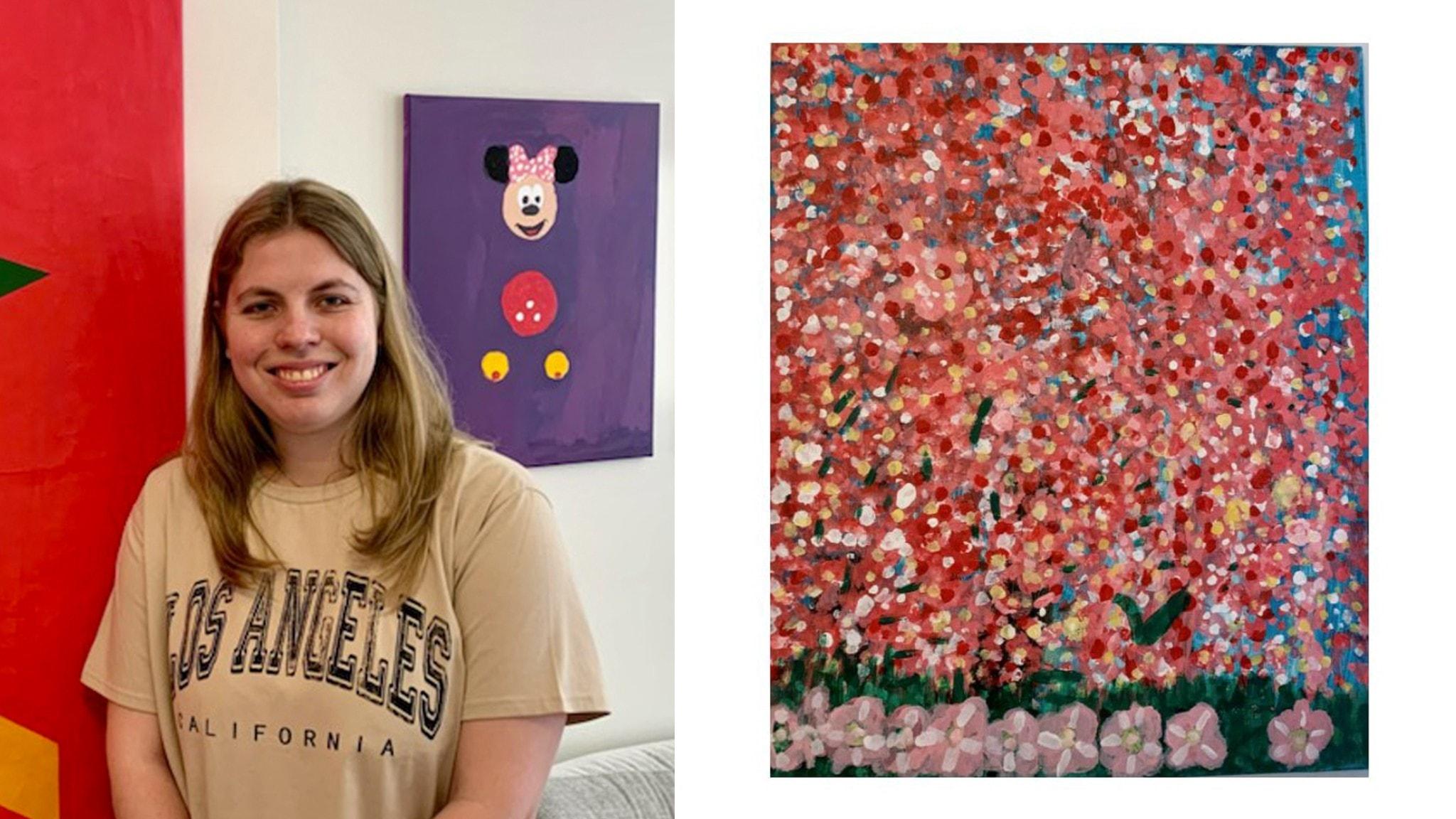På det ena fotot syns Hanna Jonsson. Hon har långt hår. Tavlan till höger visar blommande körsbärsträd.