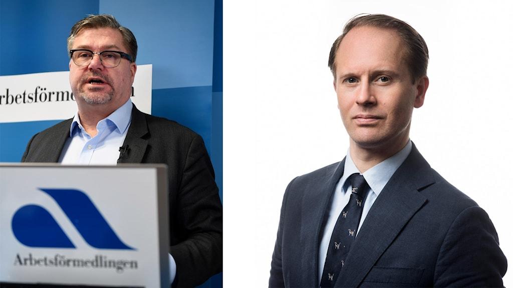 På fotot syns två män i kostym. Mikael Sjöberg från Arbetsförmedlingen har glasögon och skäggstubb och han saknar slips. Edward Hamilton från Svensk Näringsliv är slätrakad och har slips.