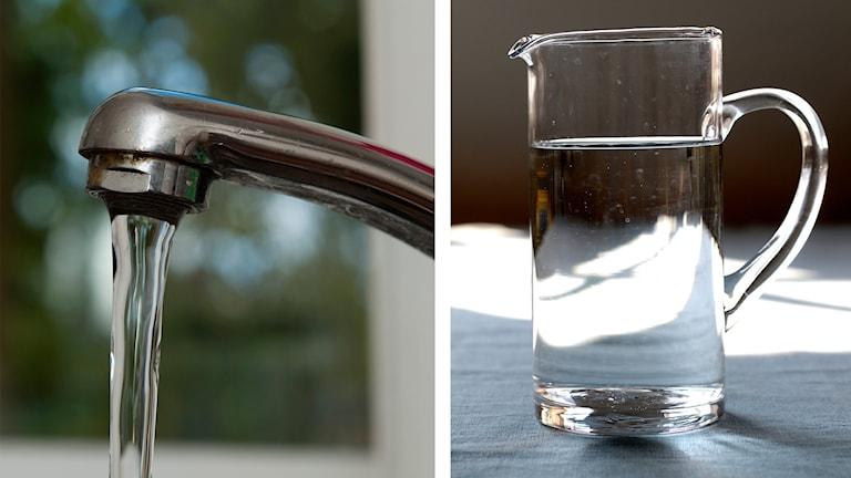 På det första fotot syns en vattenkran och på det andra syns en vattenkanna.