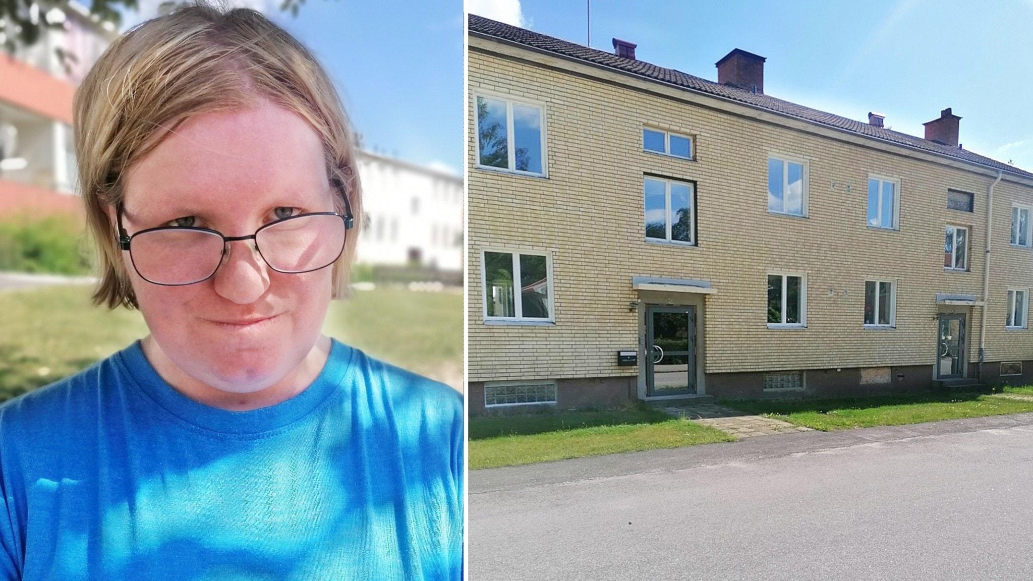 På bilderna ser man en blond kvinna med glasögon och ett gult hus.