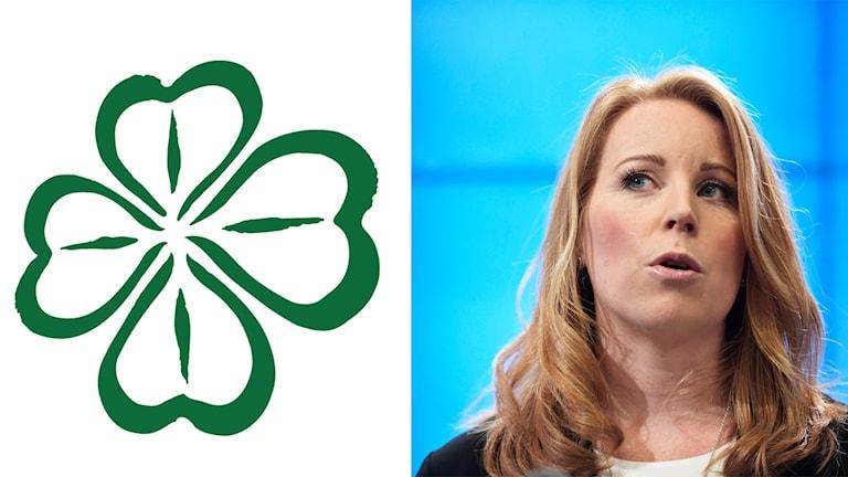 På fotot syns Centerpartiets ledare Annie Lööf och partisymbolen som är en en fyrklöver.
