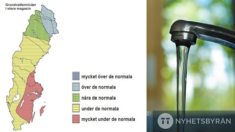 Kartan visar att vattenbristen är störst i Uppsala, Västmanland, Södermanland, Östergötland, Småland, Öland och Gotland. Till höger suyns en vattenkran.