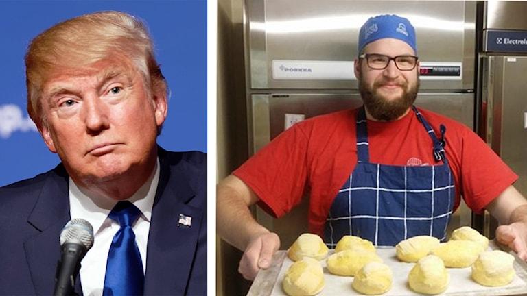Trump ser klurig ut. Gustav Kapraali håller fram nybakat bröd.
