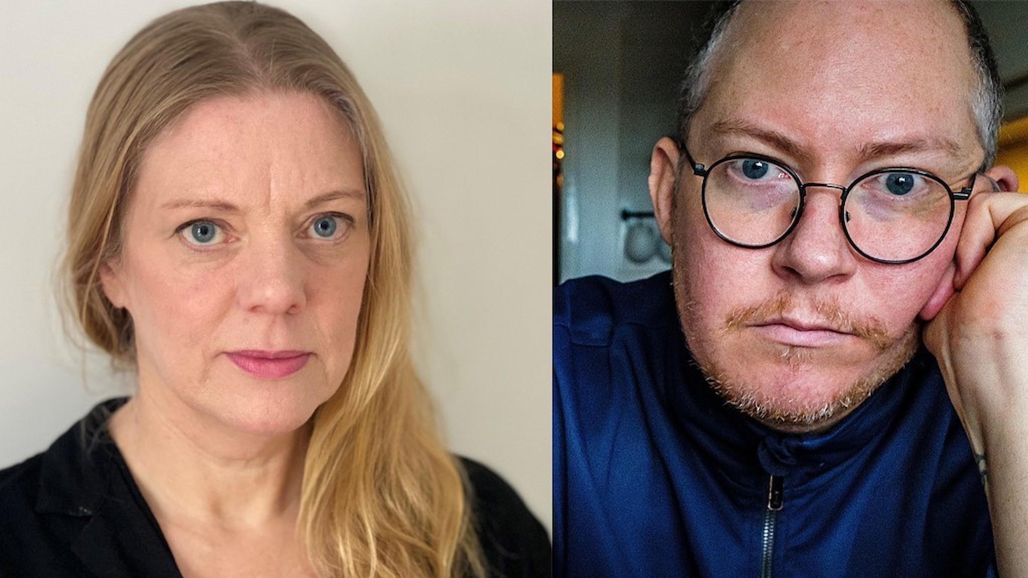 Jenny Widell och Mattias Wellander Löfgren arbetar med en film om personer med intellektuell funktionsnedsättning.