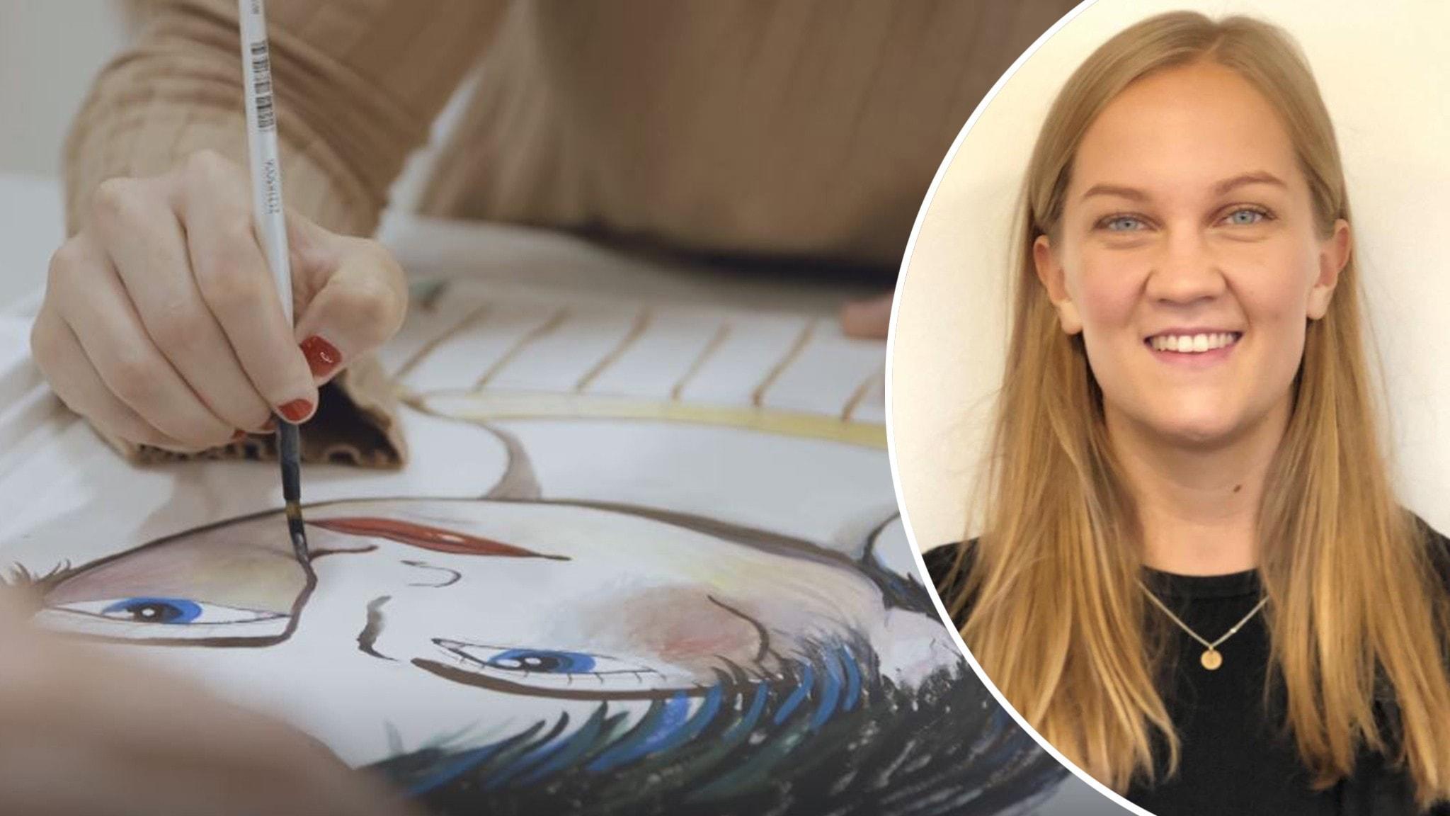"""En bild från Sveriges Televisions program """"Lerins lärlingar"""" och infälld bild på Sara Westfahl på FUB."""