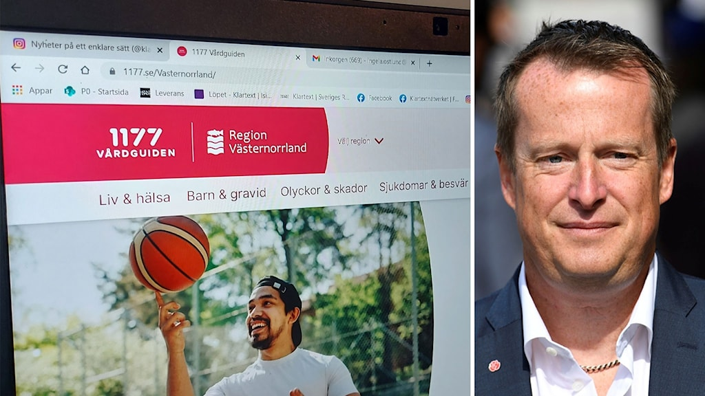 Till vänster en datorskärm med en hemsida 11 77 öppen. Anders Ygeman till höger porträttbild.