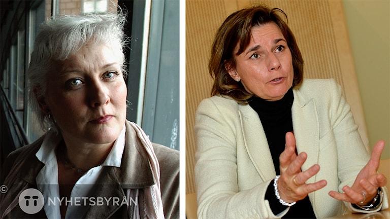 Lotta Hedström ser arg ut och Isabella Lövin ser bekymrad ut.