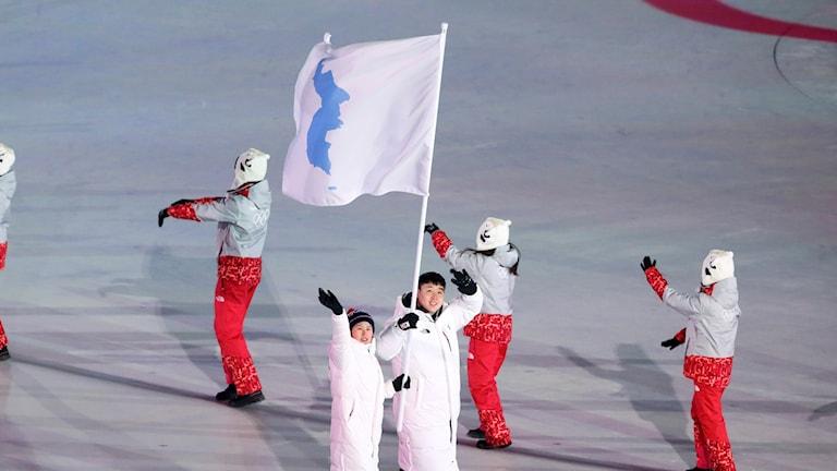 Fotot visar en tjej från Nordkorea och en kille från Sydkorea, som bär en vit gemensam flagga för Korea. Flaggan har något blått i sig.