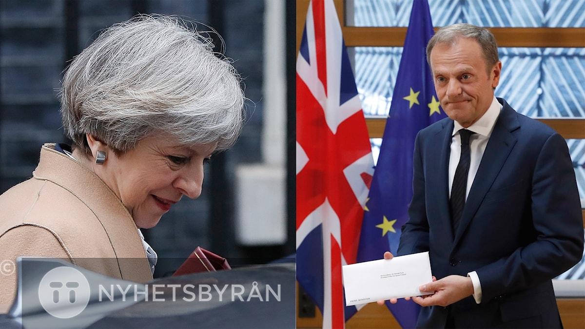 Theresa May kliver in i en bil. Donald Tusk håller i ett brev och bakom honom hänger både brittiska flaggan och EU-flaggan.