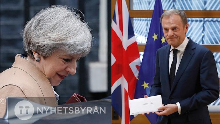 Theresa May kliver in i en bil. Donald Tusk håller ett brev i handen.