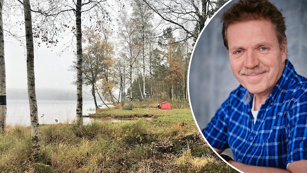 Ett tält vid en sjö och författaren Bengt Fredrikson.