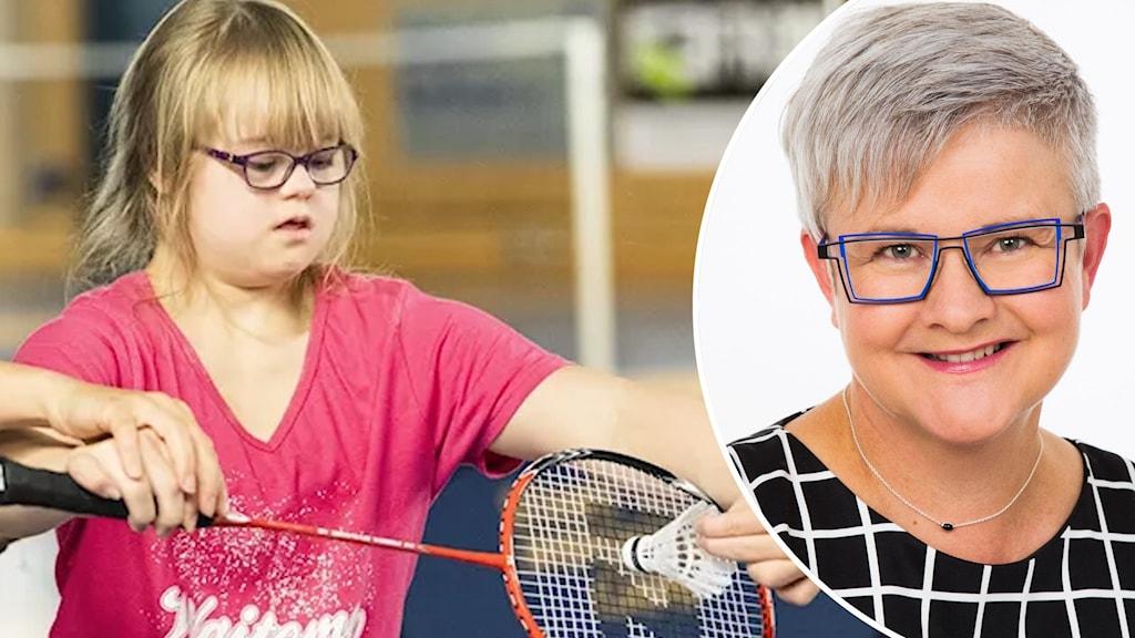 Till vänster: En flicka med Downs syndrom som spelar badminton. Till höger: infälld bild på författaren Ann-Charlotte Ekensten.