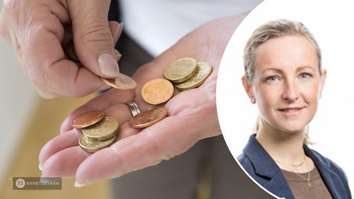 Bild på en kvinna som räknar pengar. Bild på Sara Andersson, utredare på Jämställdhetsmyndigheten.