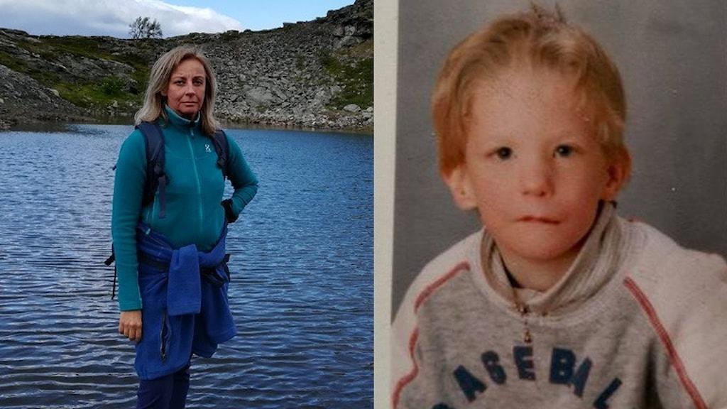 Till vänster: Dicks moster Emma Eriksson står vid vattnet. Hon har långt ljust hår. Till höger: Dick Nord som liten, han har ljust kort hår.