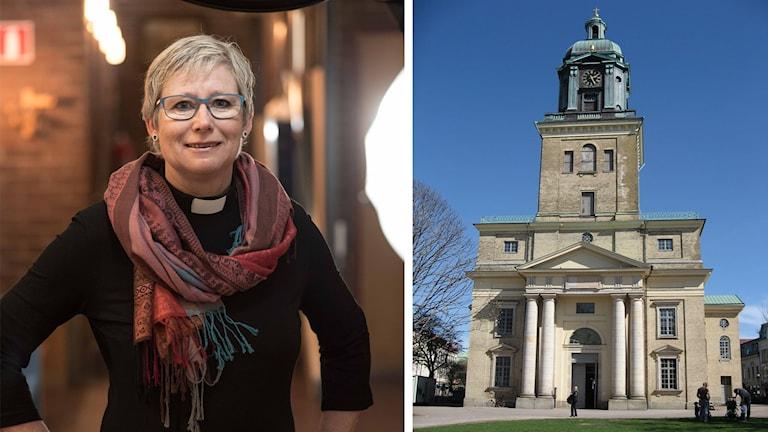 På fotot ser man Susanne Rappmann och en kyrka.