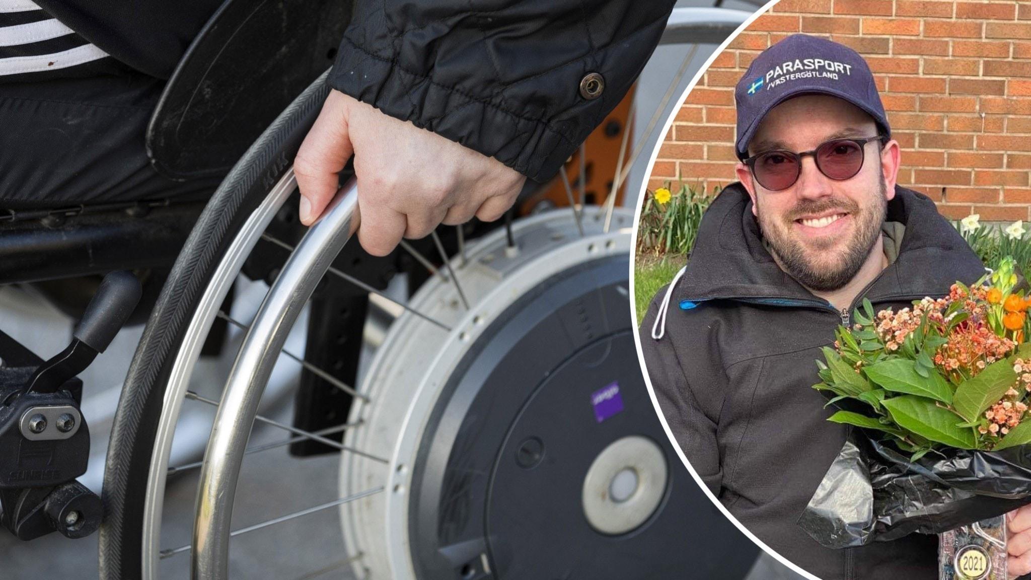 Två bilder i ett kollage. Första bilden är på en person i en rullstol. Andra bilden är på Linus Edlund som ler stort.