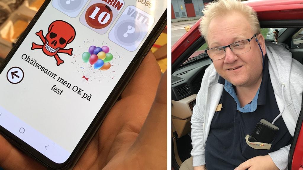 Mats sitter i sin bil för att åka iväg och handla. Han har fått en app som underlättar för honom att välja varor i butiken.