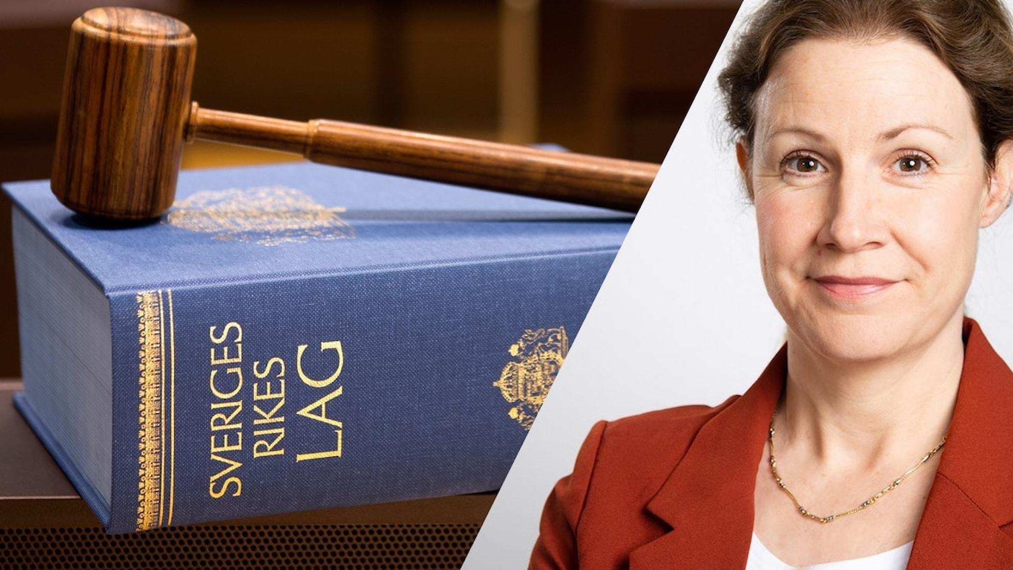 På bilden syns en lagbok, en domarklubba och ett porträtt av Christina Heilborn.