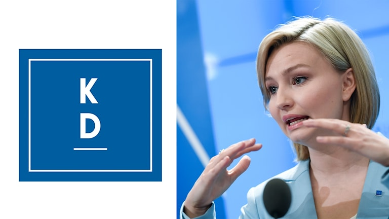 På fotot ser man partiledaren Ebba Bush Thor och förkortningen KD.