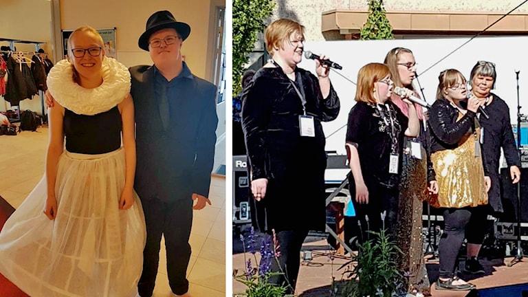 Magdalena har klätt ut sig i annorlunda kläder. Hon har en kjol och en sådan stor krage som präster i Danmark brukar ha. Sandra står på en scen och sjunger tillsammans med några andra.