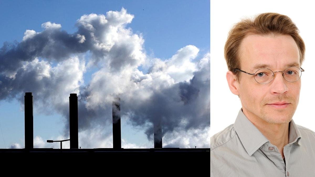 På den första bilden ser man utsläpp av koldioxid och den andra Markku Rummukainen som forskar om klimat.