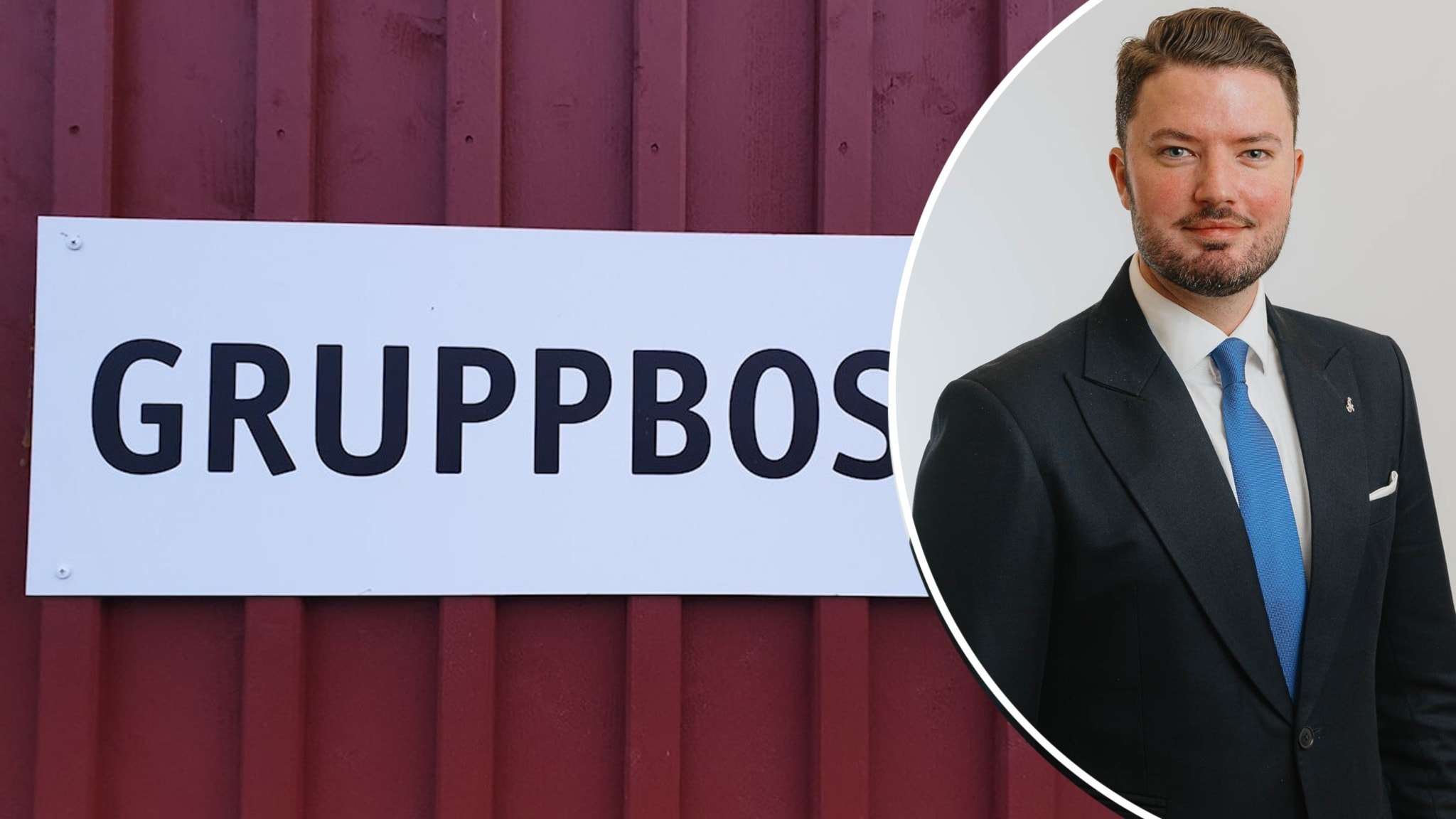 """Skylt med texten """"Gruppbostad"""" på en röd husvägg. Infälld bild på politikern Roko Kursar."""