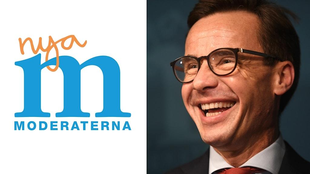 På fotot ser Ulf Kristersson glad ut. Han har glasögon.