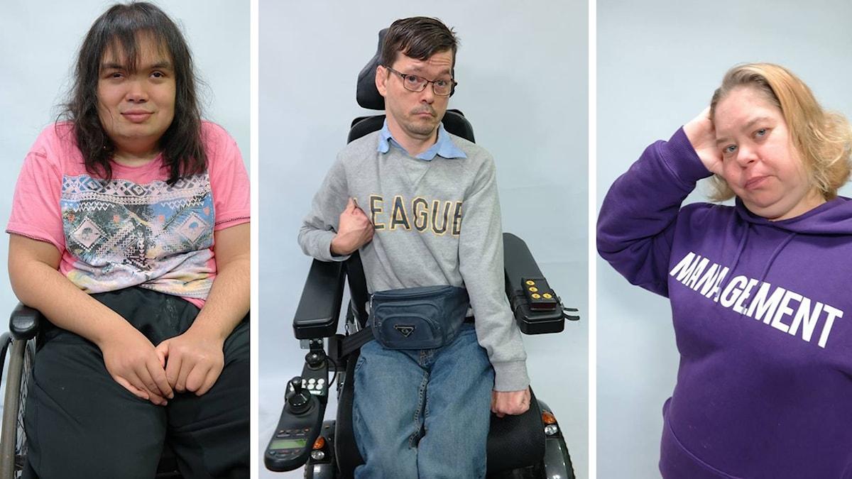 På fotot ser man de tre programledarna. Två av dem sitter  rullstol.