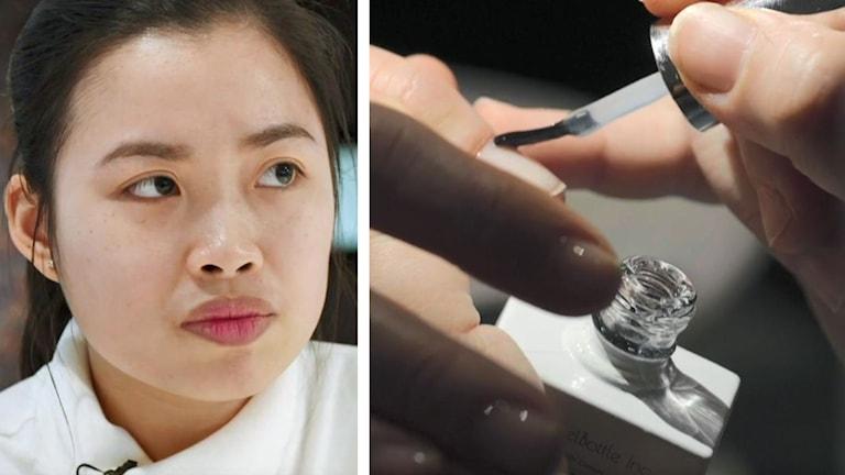 På det ena fotot syns en kvinna med asiatiskt utseende. På det andra fotot syns någon som målar på genomskinligt nagelack på någons naglar.