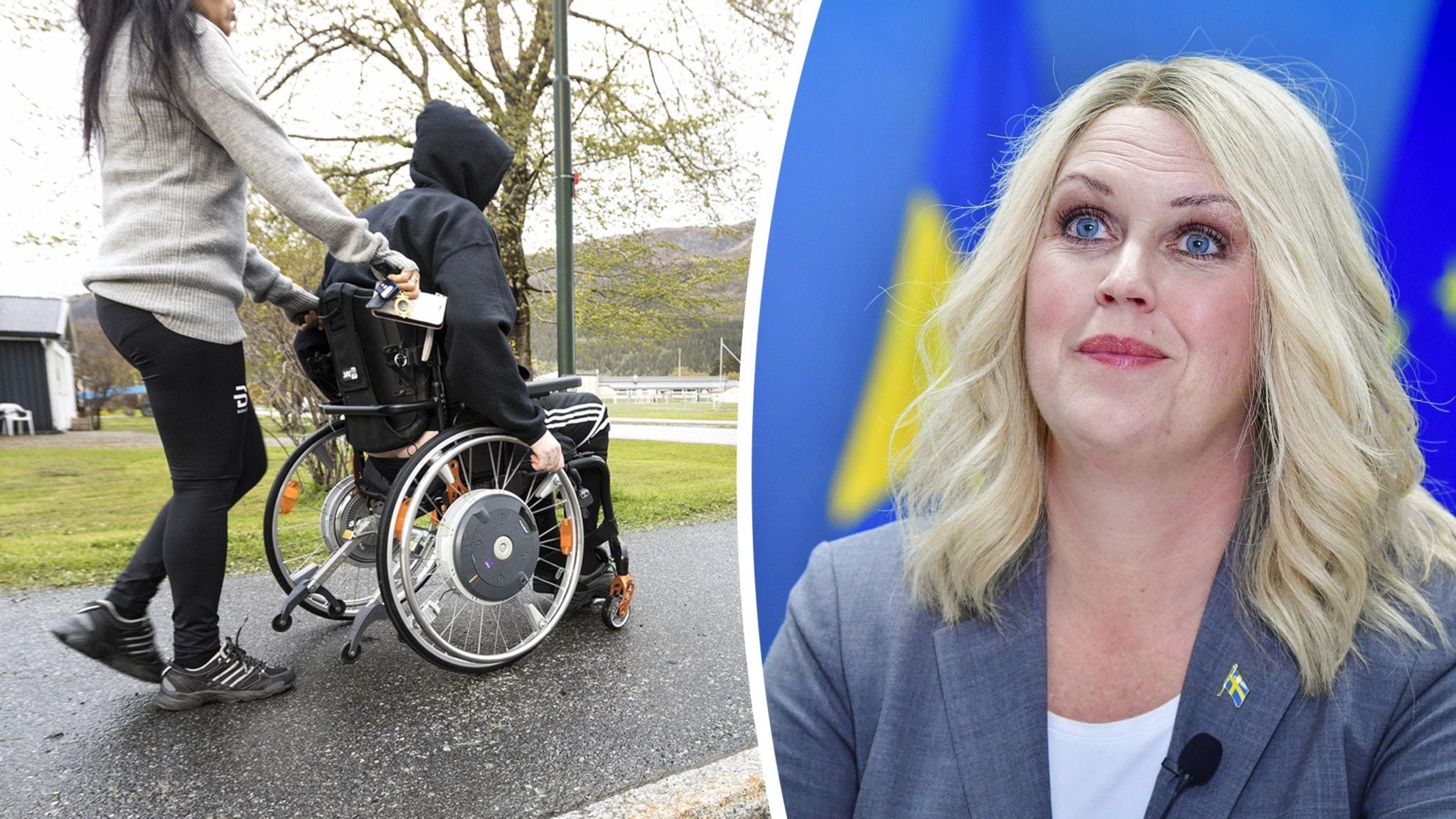 En person kör en annan person som sitter i rullstol. Du ser också bild på en kvinna som är glad.