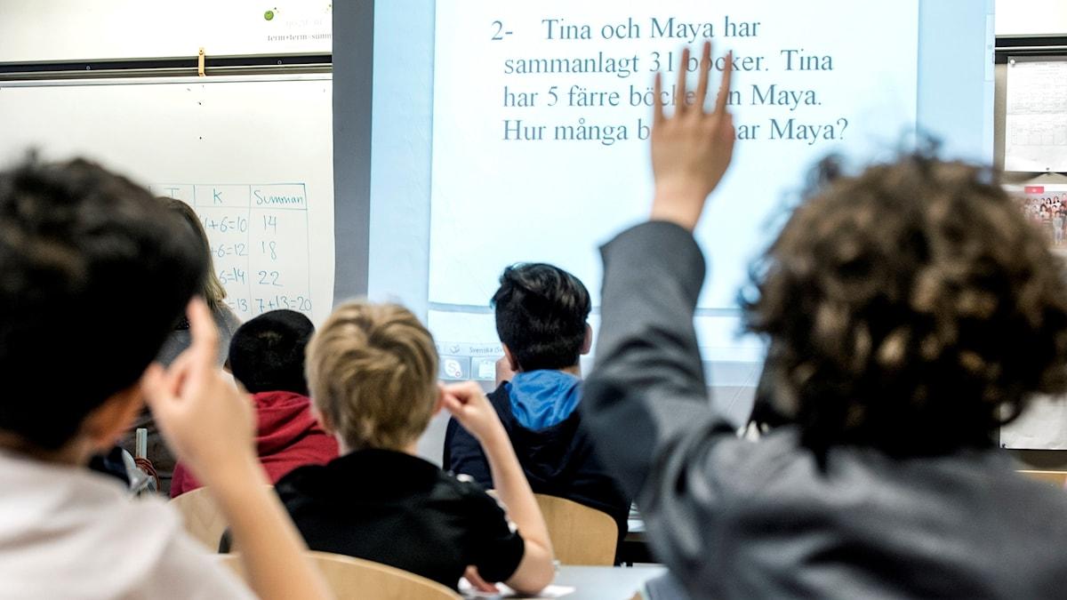 Man ser inte ansiktet på eleverna. De är fotade bakifrån. En elev räcker upp handen.