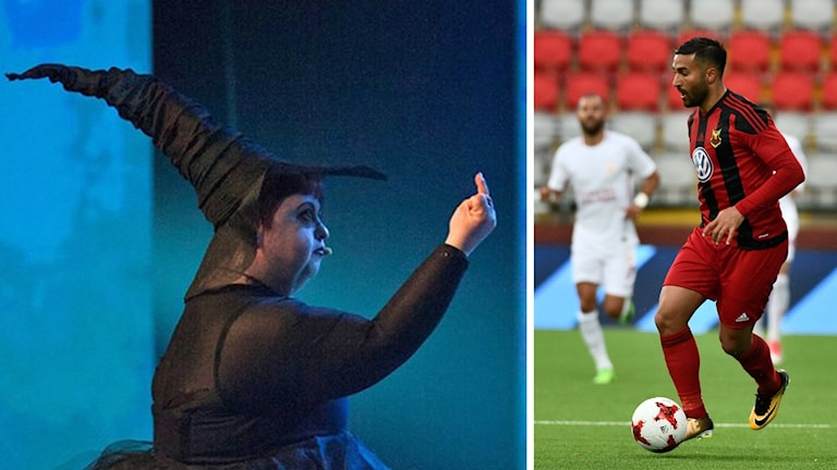 På fotot till vänster ser man en häxa som pekar finger och till höger en fotbollsspelare som just då har bollen.