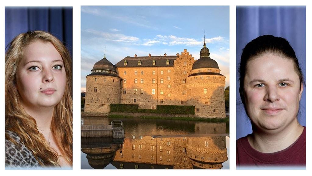 På två olika foton syns skådespelarna Therese Kvist och Dennis Nilsson. Therese har långt blont hår och Dennis har långt brunt hår uppsatt i en tofs i nacken. På fotot i mitten syns Örebro slott.